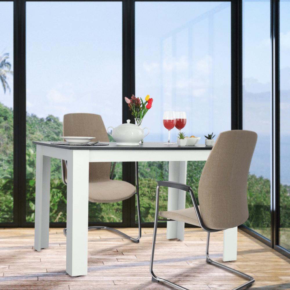 Jídelní stůl, bílá / černá, 120x80, KRAZ