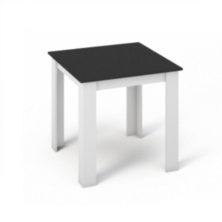 Étkezőasztal 80x80, DTD laminált, ABS élek, fehér/fekete, KRAZ