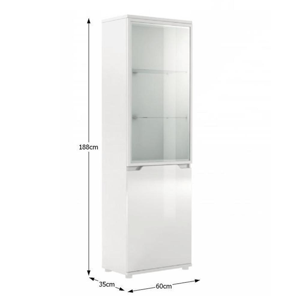 Vitrína s LED osvětlením, bílá / bílá s extra vysokým leskem, ADONIS AS 10, TEMPO KONDELA