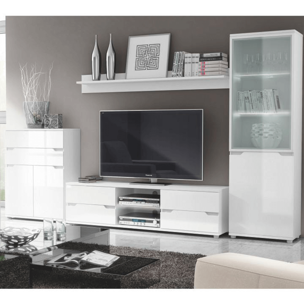 Závěsná vitrína, bílá / bílá s extra vysokým leskem, ADONIS AS 08, TEMPO KONDELA