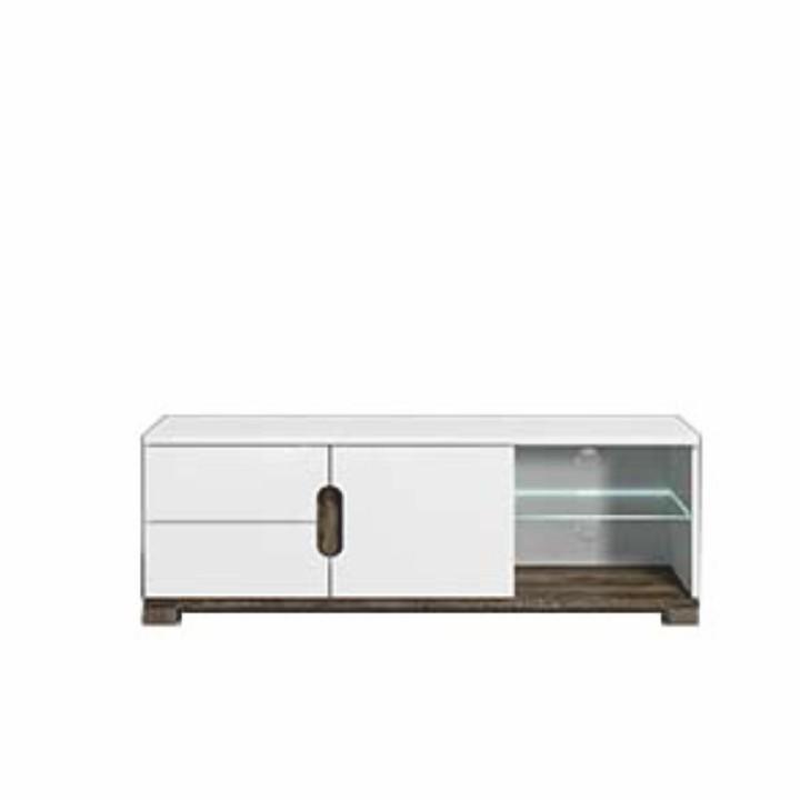 LORIEN LS 63 RTV asztal, san remo/fehér- extra magas fényű LED világítással