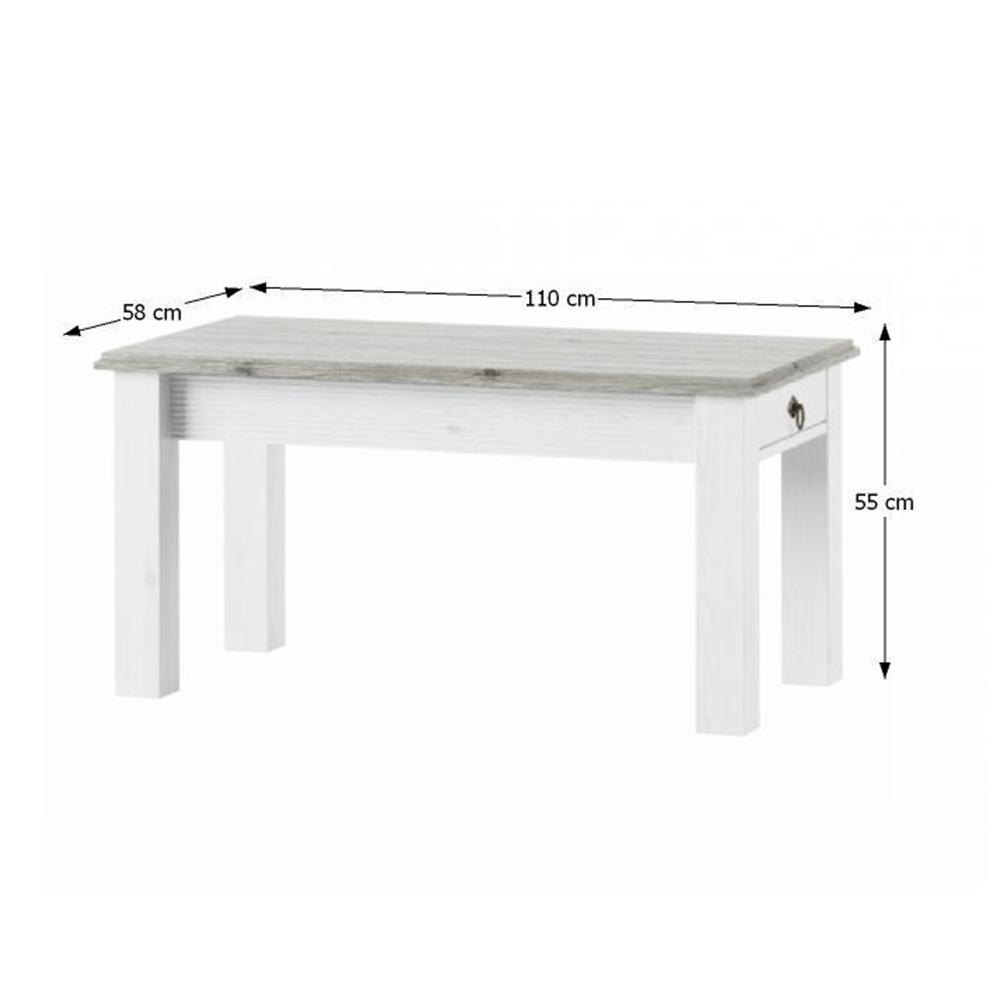 Dohányzóasztal, fehér, LIONA LM 97