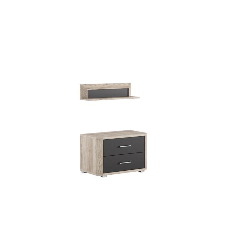 Nočný stolík s poličkou LN23, san remo/grafit LUMPUR
