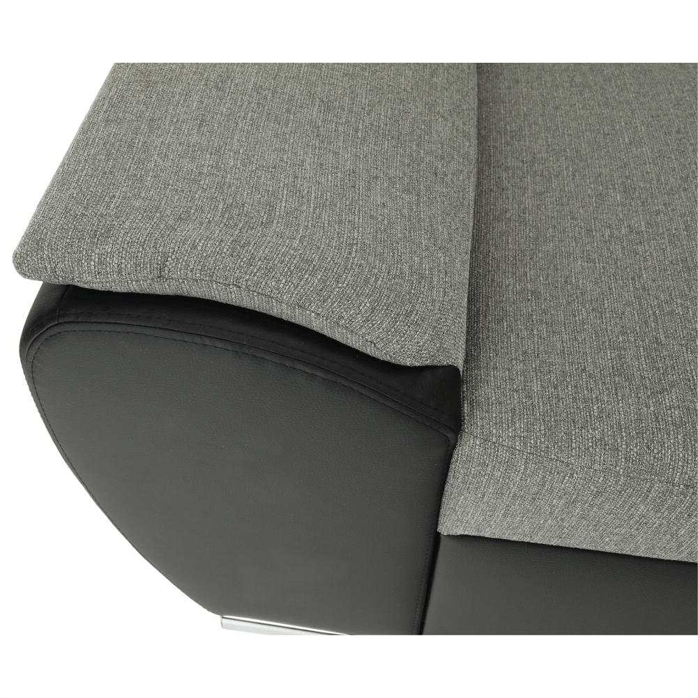 Ülőgarnitúra, fekete/szürke, jobb oldali kivitel, EMILY KIS SAROK