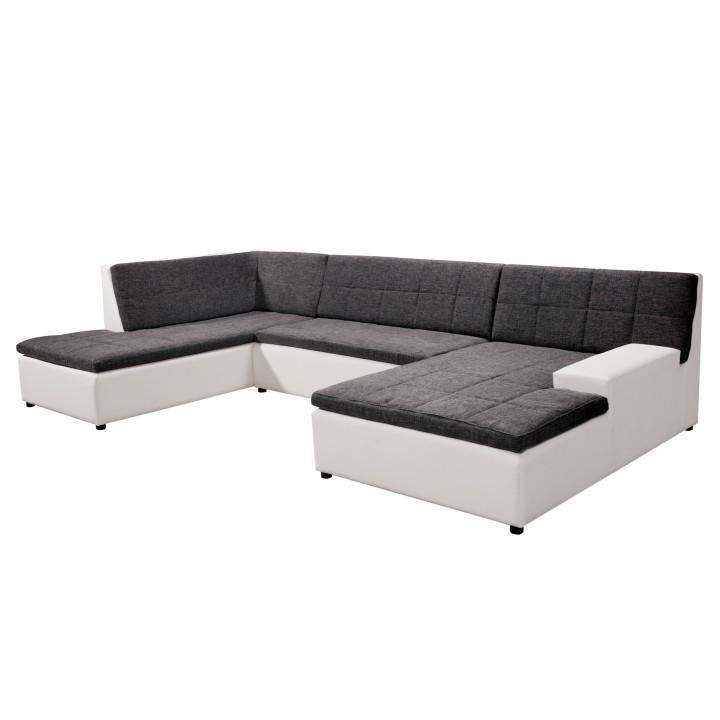 Rohová sedacia súprava v tvare U + taburet, P prevedenie,ekokoža biela Madryt 120/ látka Inary 96 sivá, HOUSTON U