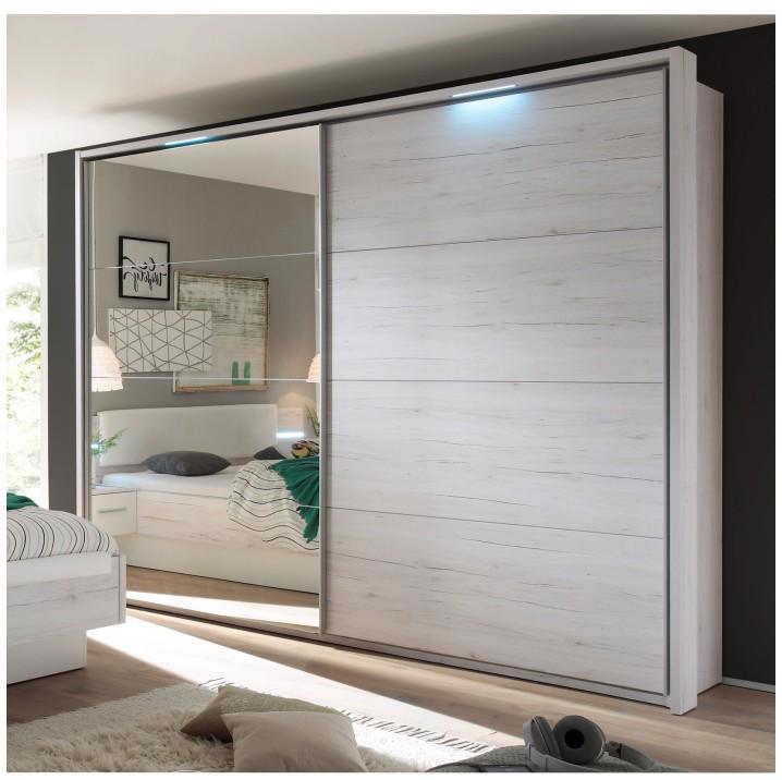 Tolóajtós szekrény tükörrel, fehér tölgyfa/fehér, KENTUCKY