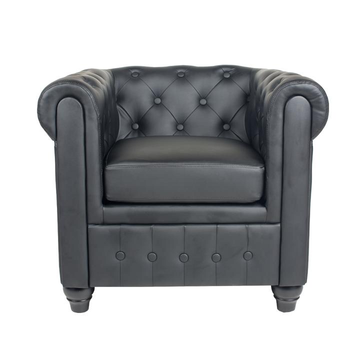 Fotel, fekete textilbőr, CHESTERFIELD