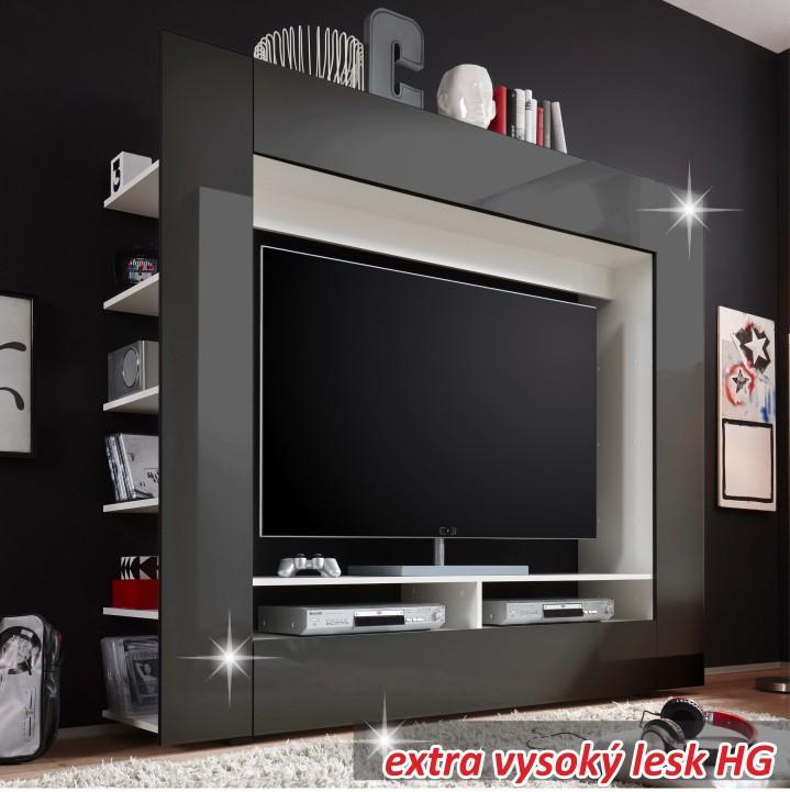 Luxusná TV a media stena, čierna/extra vysoký lesk, MEDI TV