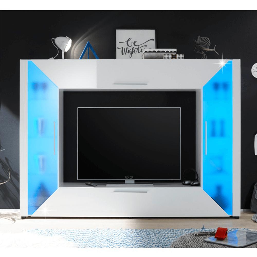 TV és médiabútor, fehér extra magasfényű/fehér, ADGE