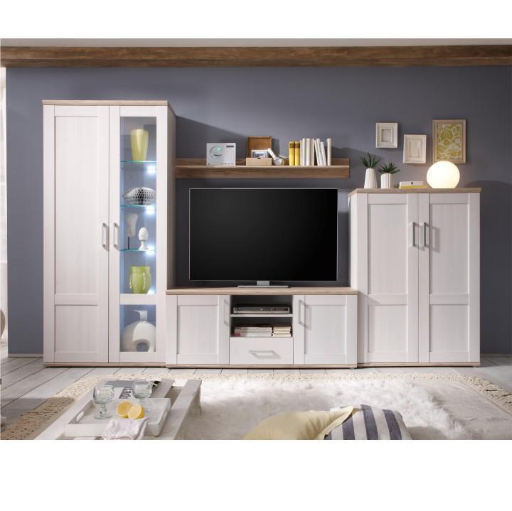 Obývacia stena, biela/ dub san remo, PROVENSAL