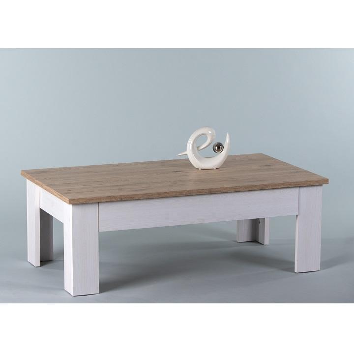 TEMPO KONDELA Konferenčný stolík, biela/ dub san remo, PROVENSAL