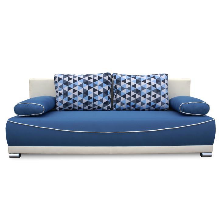 Pohovka rozkladacia, s úložným priestorom, látka modrá/béžová/vankúše vzor, DINAR