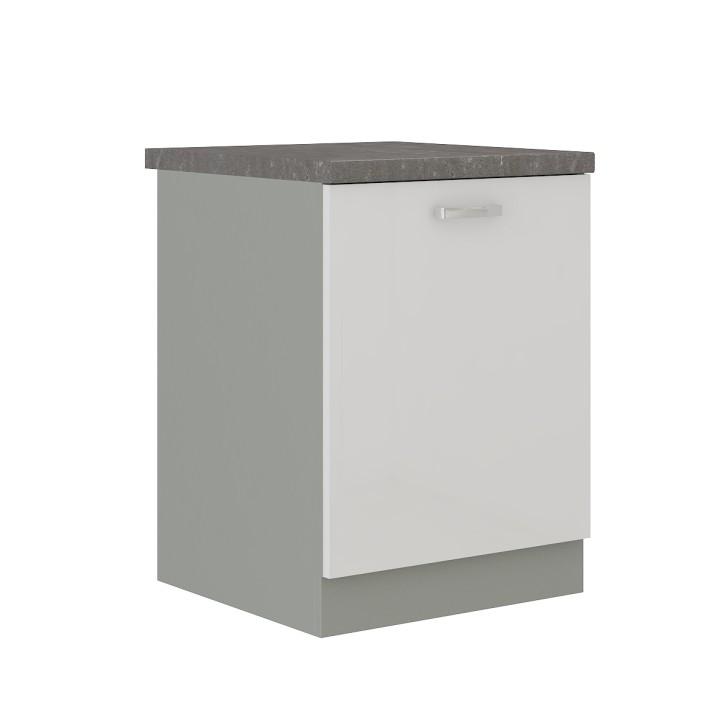 Alsó szekrény, fehér magas fényű fehér, PRADO 60 D 1F ZB