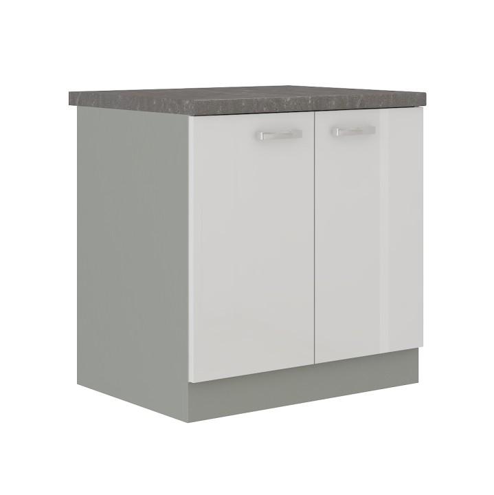 Alsó szekrény, fehér magas fényű fehér, PRADO 80 D 2F ZB