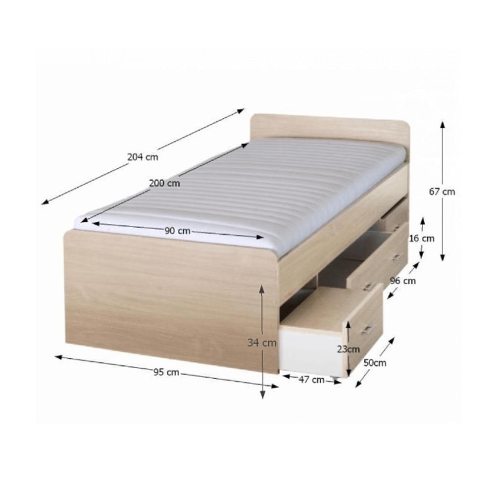 Ágy ágyneműtartóval, juharfa, 90x200 cm, DUET