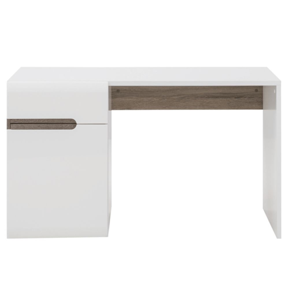 PC stůl, bílá extra vysoký lesk HG / dub sonoma tmavý truflový, LYNATET TYP 80, TEMPO KONDELA