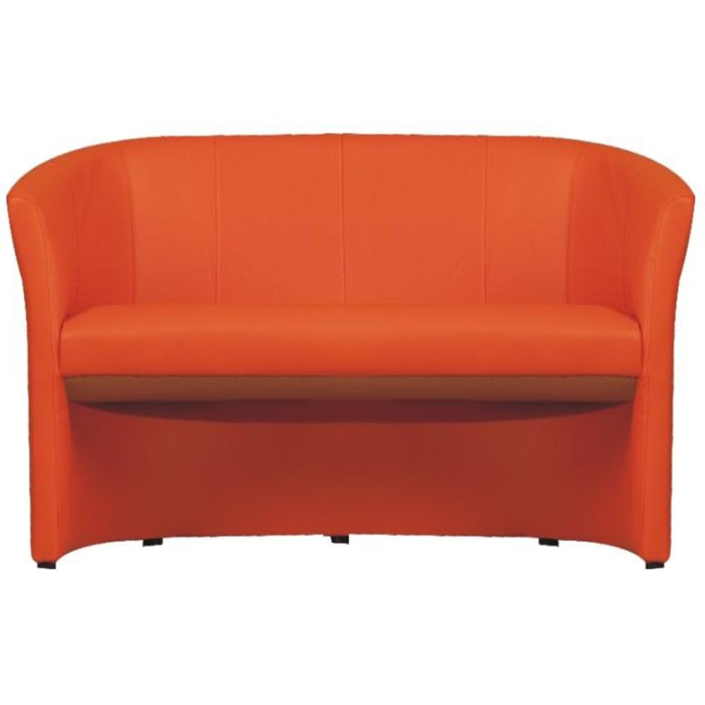 Fotoliu de club dublu, piele ecologică portocalie, CUBA
