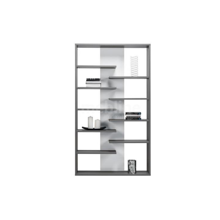 Vysoký regál, sivá grafit/biela, MARSIE M14