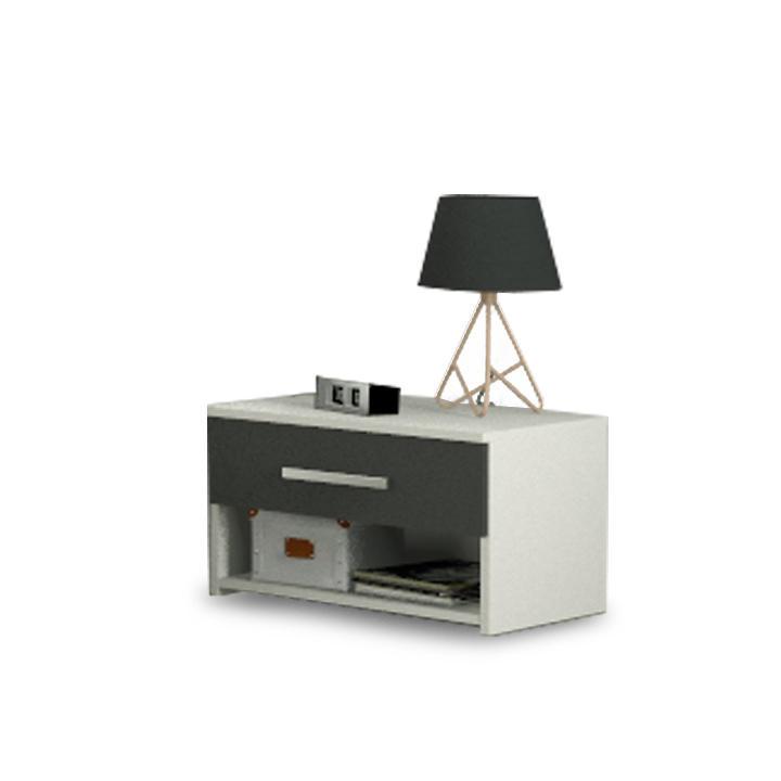 Nočný stolík, DTD laminovaná, sivá grafit/biela, GREYLINE