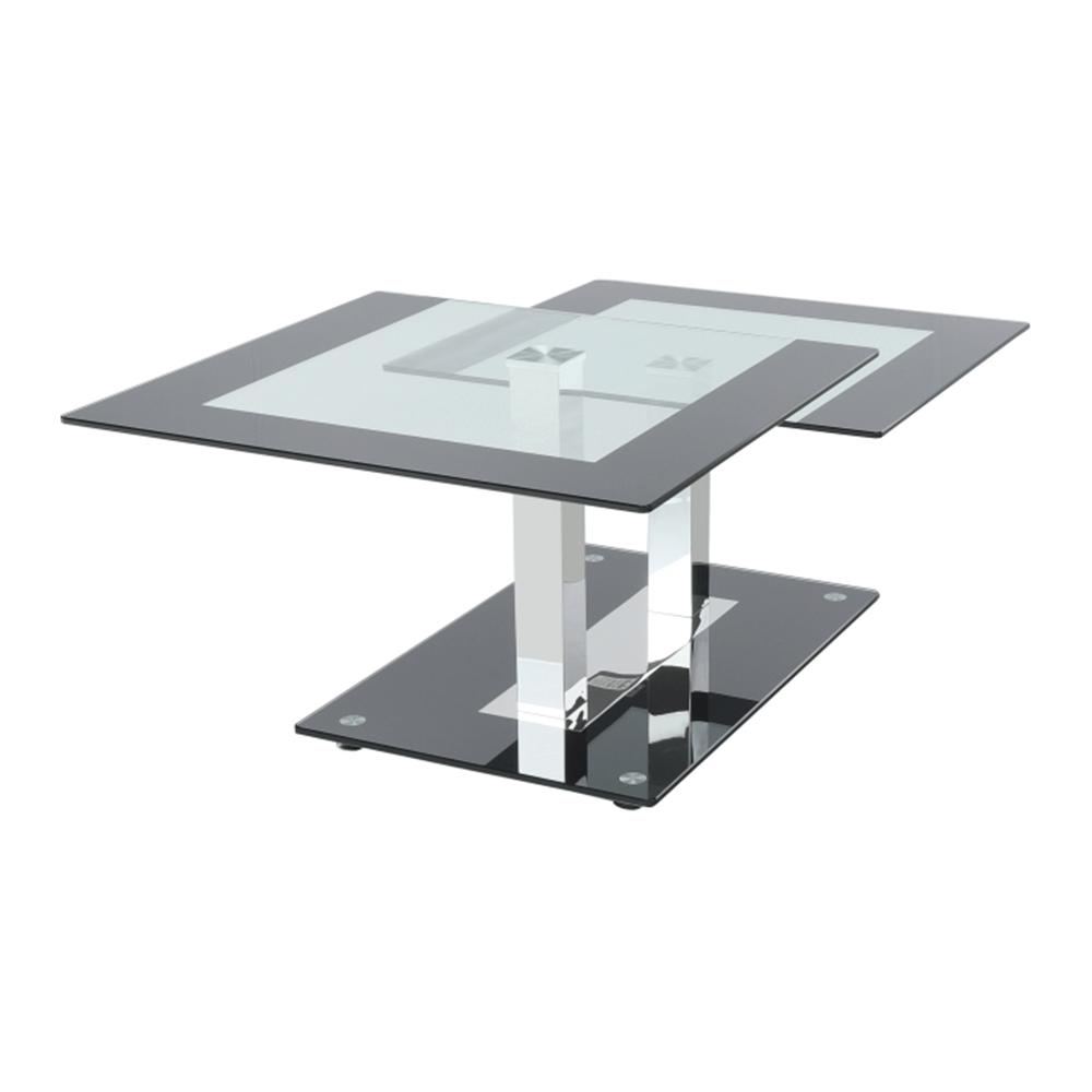 Dohányzóasztal, acél + edzett üveg, GABRIEL