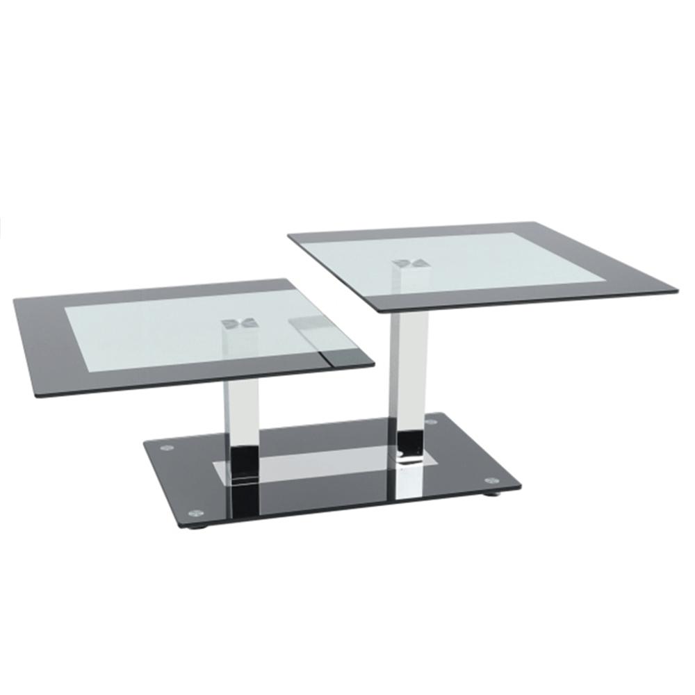 Konferenčný stolík, čierna/sklo, GABRIEL