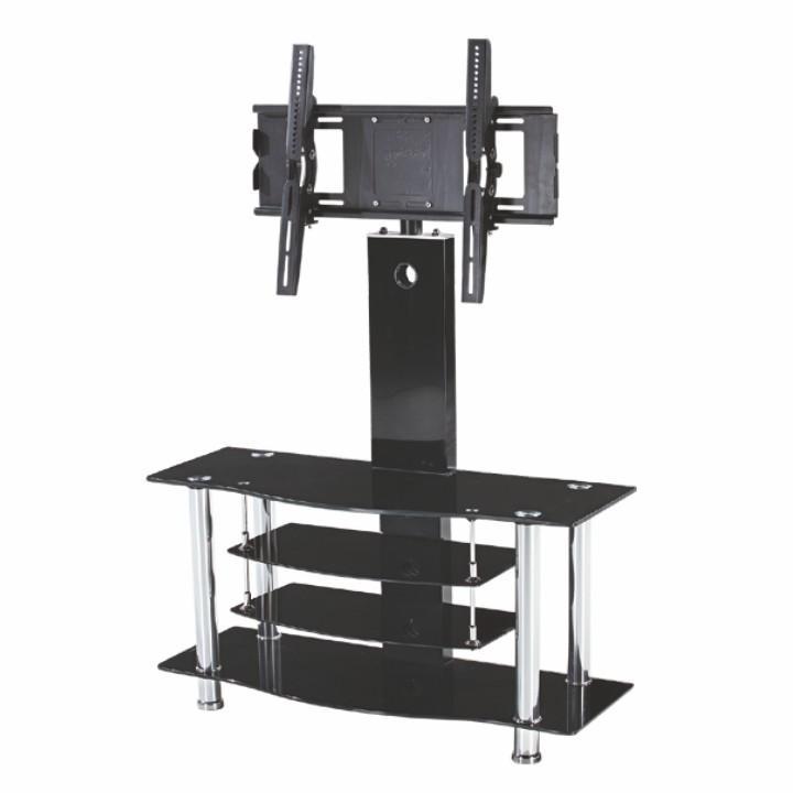 TV stolík, kov/sklo, čierne, JOE