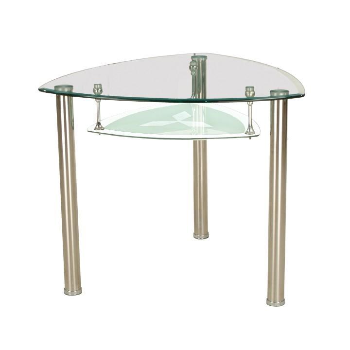 Étkezőasztal, acél + edzett üveg, KAROL