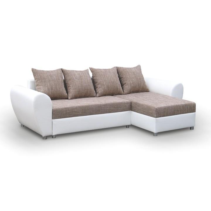 Rohová univerzálna sedacia súprava, rozklad/úložný priestor, berlin hnedý/ekokoža biela, ROMA