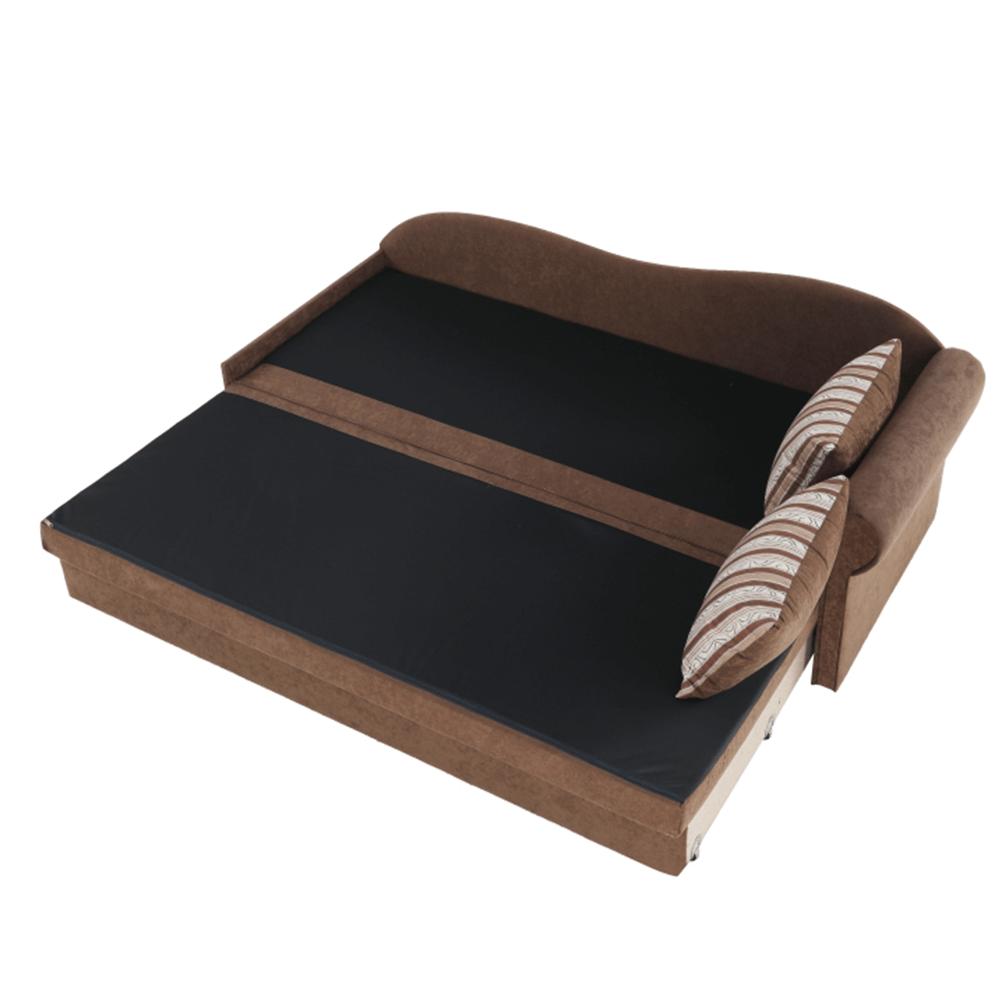 Rozkladacia pohovka, hnedá/vzorované vankúše, pravá, AGA D