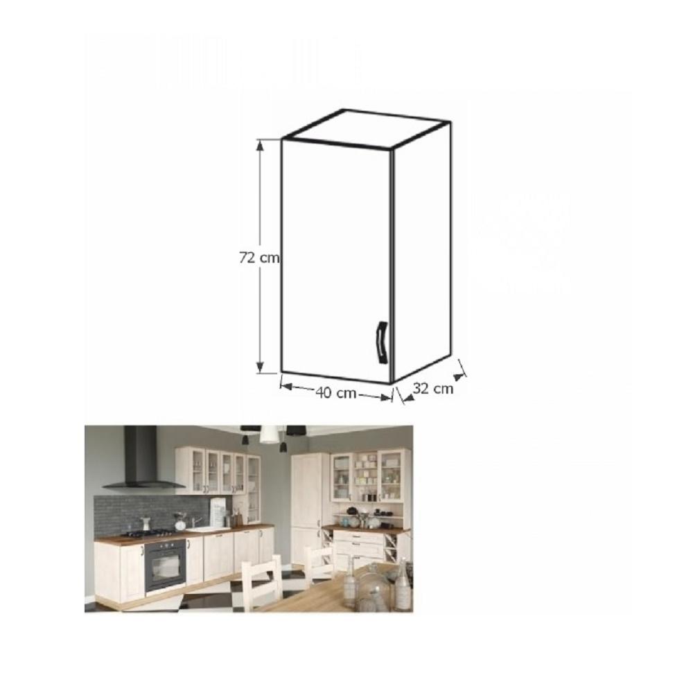 Horní skříňka, bílá / sosna skandinávská, levá, ROYAL G40