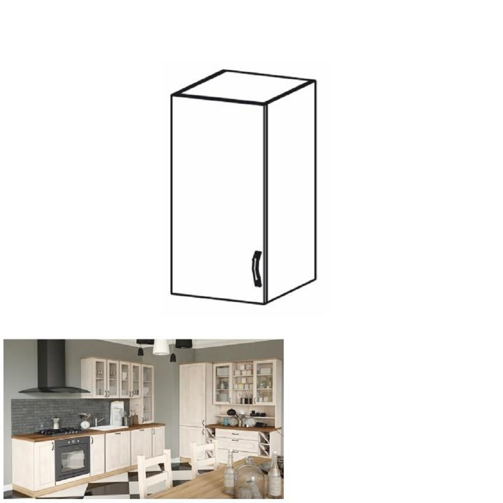 Horná skrinka, biela/sosna nordická, ľavá, ROYAL G40