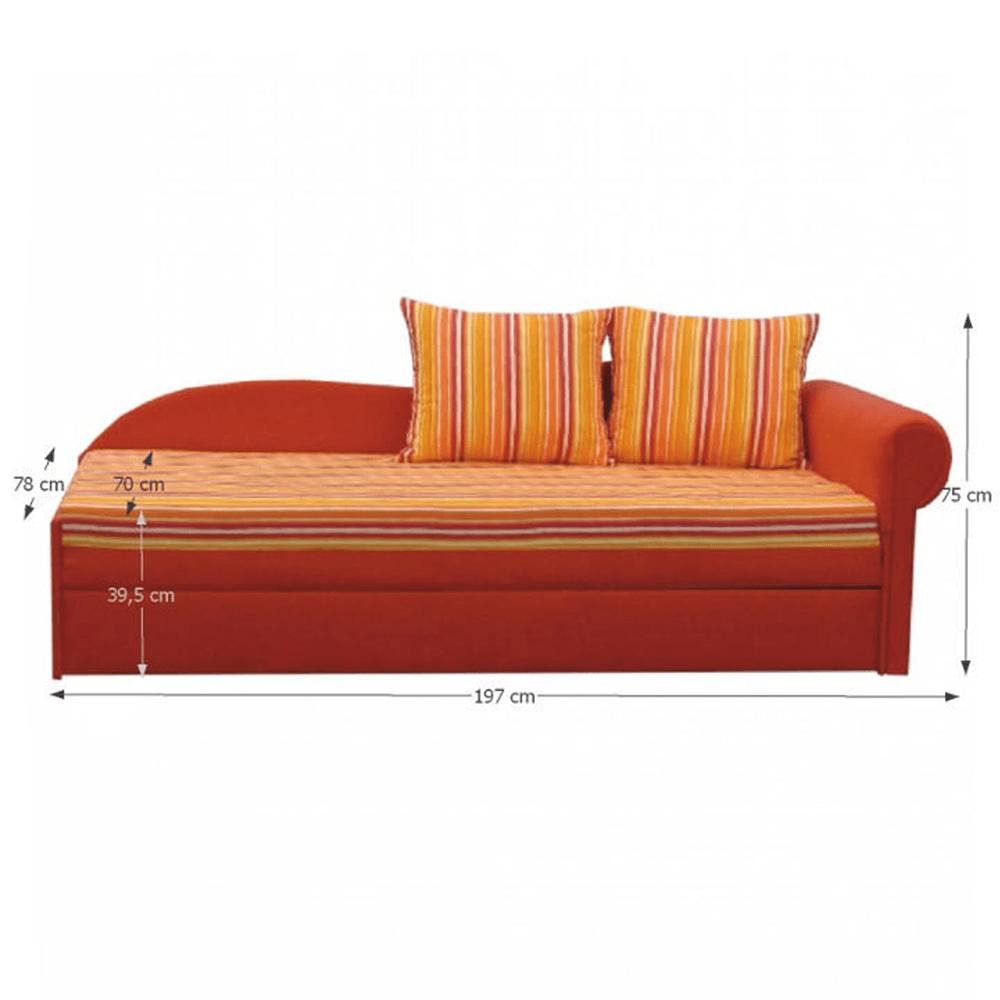 Kanapé ágyfunkcióval, narancs színű, jobb oldali kivitel, AGA D