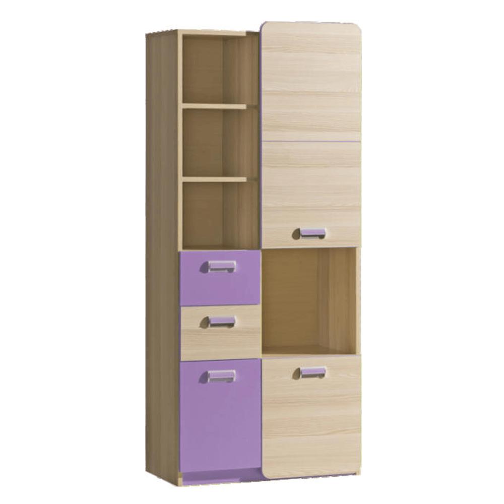 Skriňa, kombinovaná, jaseň/fialová, EGO L7