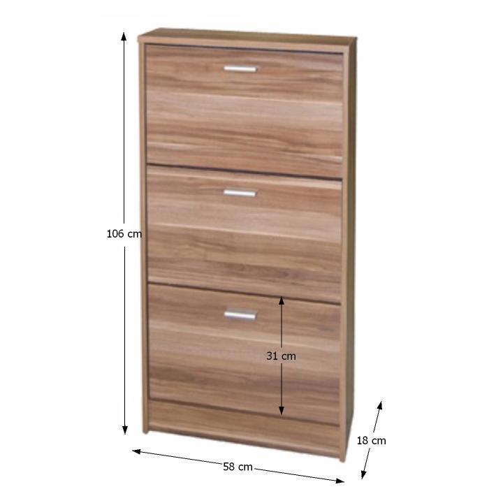 Cipős szekrény, 3 ajtóval,szilvafa , MB cipősszekrény DA 13
