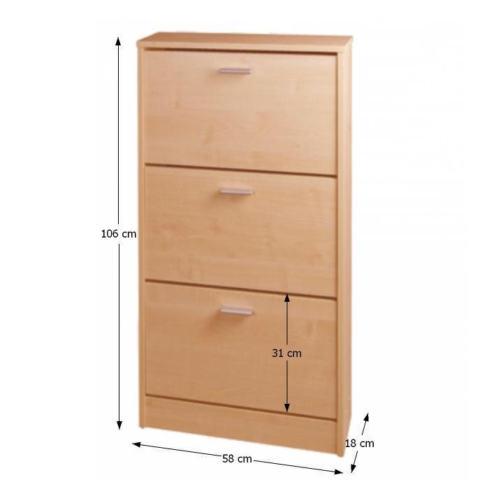 Cipős szekrény, 3 ajtóval, bükk, MB cipősszekrény DA 13