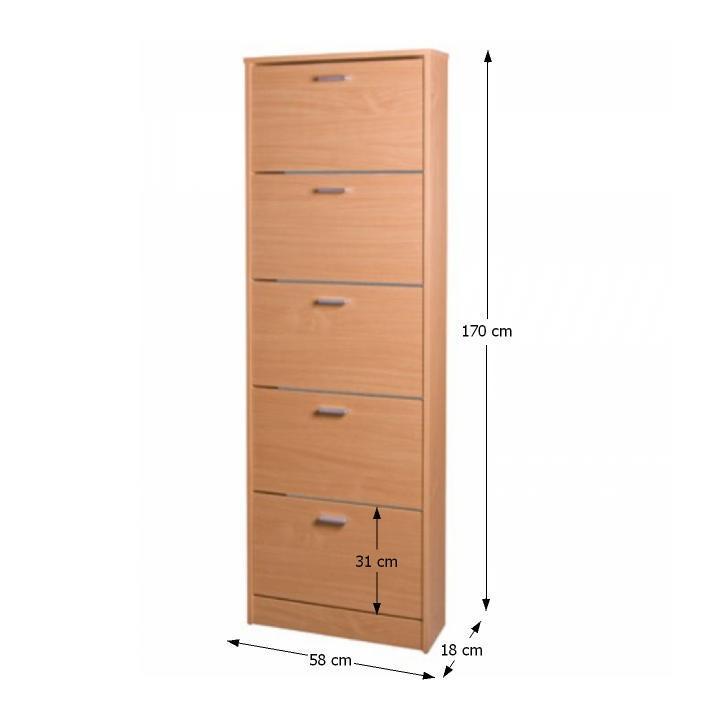Cipős szekrény, 5 polccal, bükkfa, MB cipősszekrény DA 15