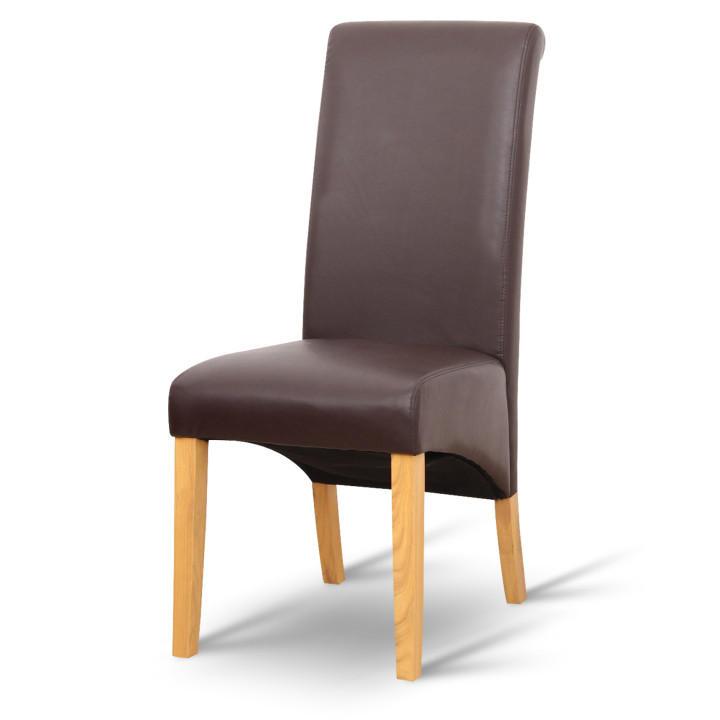 Étkező szék,textilbőr barna/terrmészetes szín, JUDY