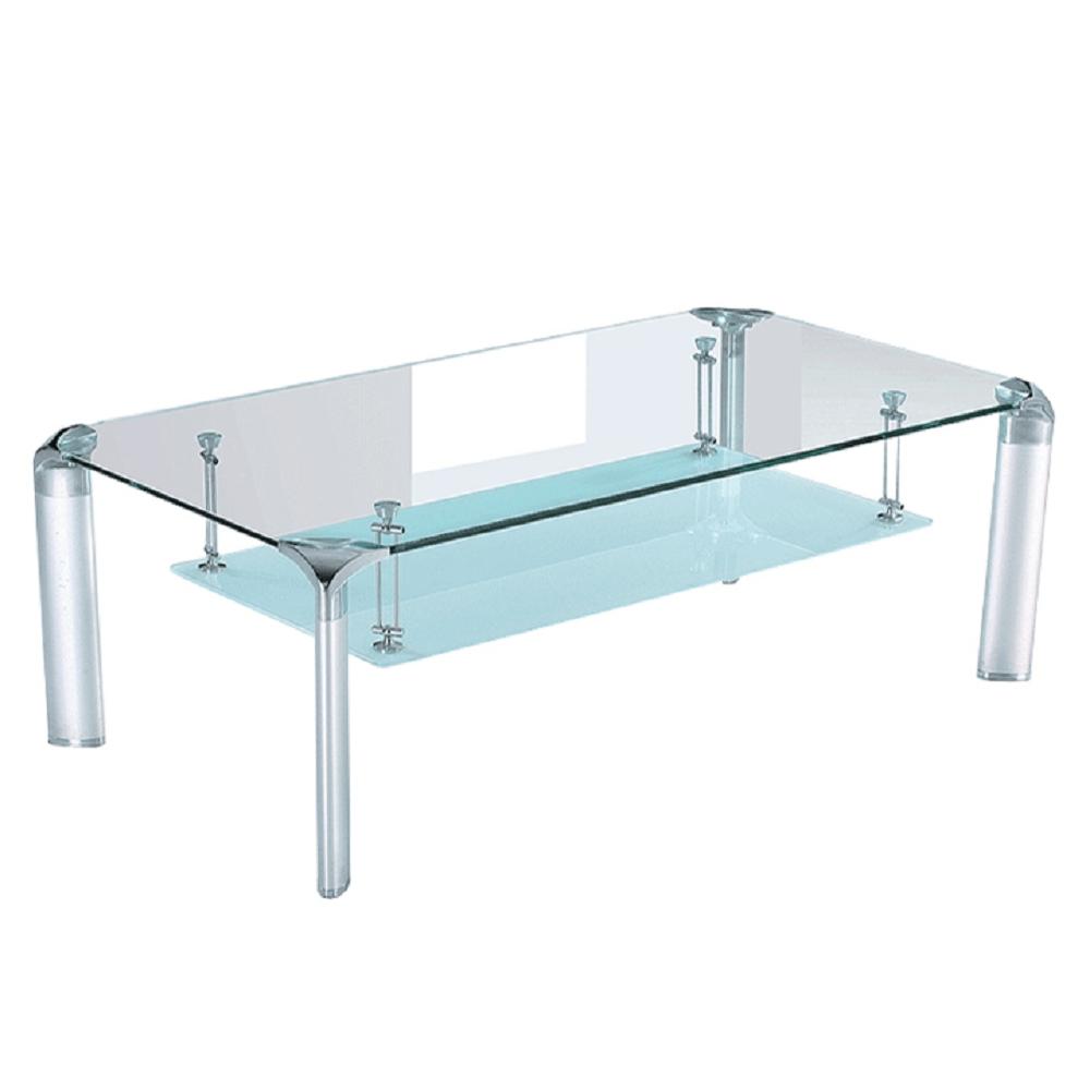 Dohányzóasztal, ezüst + üveg, RICKY