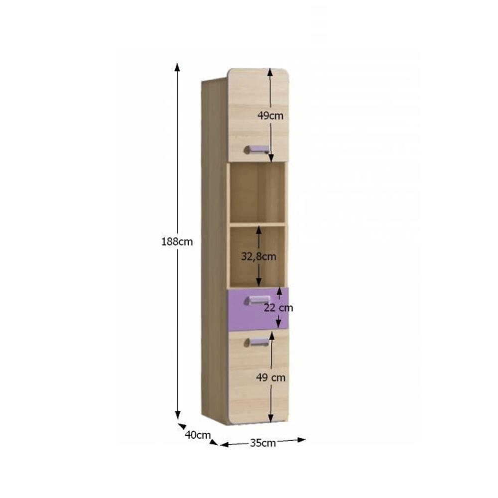 Vitrína, jasan/fialová, EGO L3