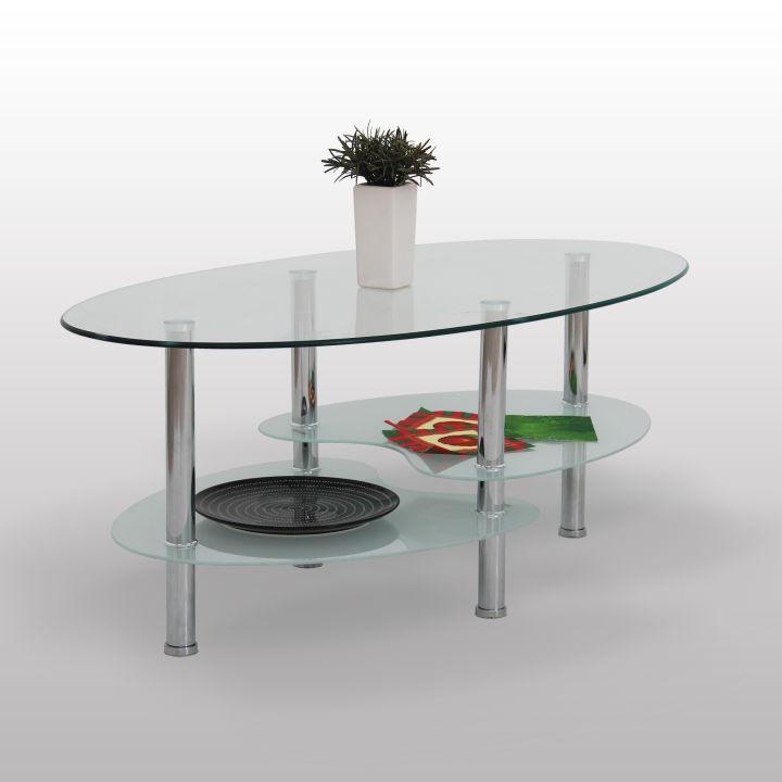 Konferenčný stolík, chróm/sklo, SANY