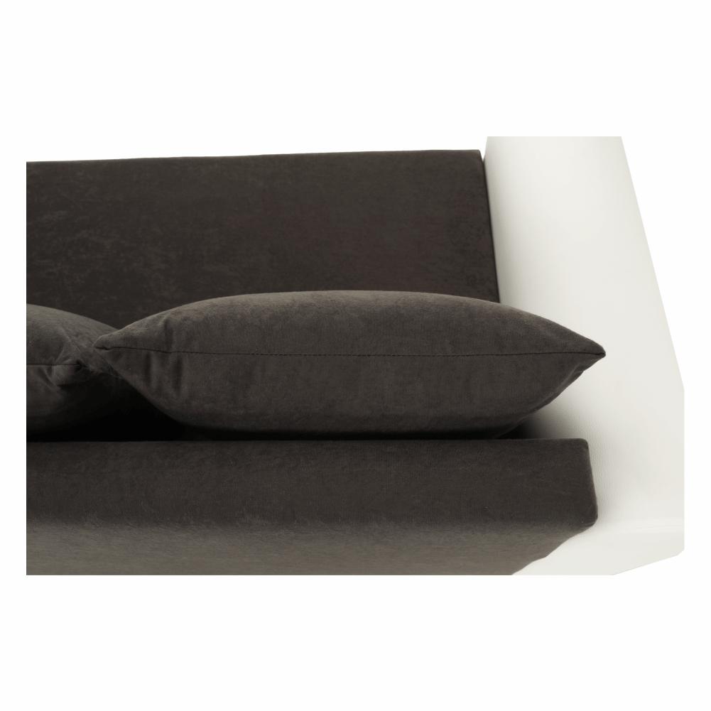 Sarokülőgarnitúra, fehér textilbőr/szürke szövet, OXFORD