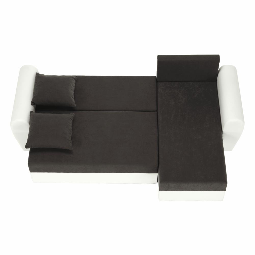 Rohová sedací souprava, bílá ekokůže / šedá látka, OXFORD, TEMPO KONDELA