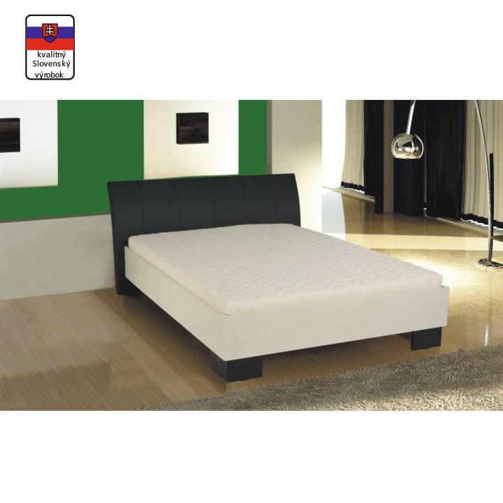 Manželská posteľ, ekokoža čierna/biele lamino, 160x200, TALIA