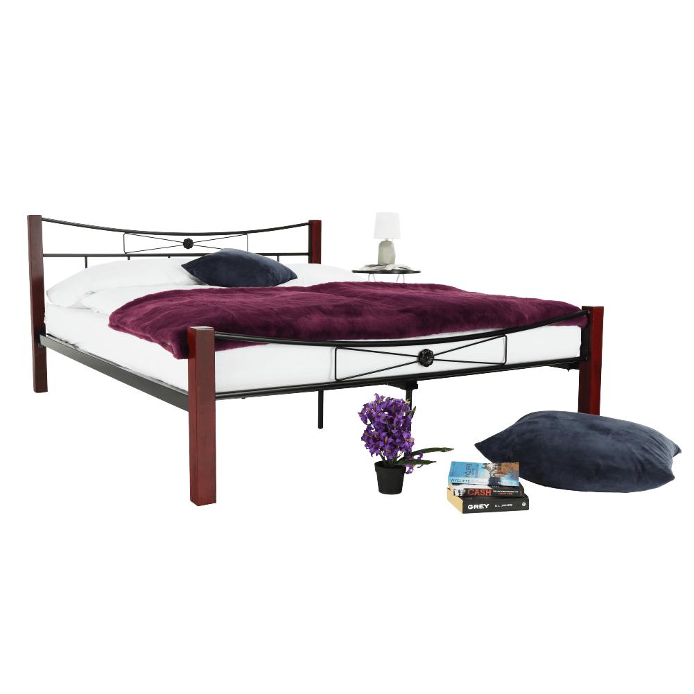 Kovová postel, dřevo ořech / černý kov, 160x200, PAULA
