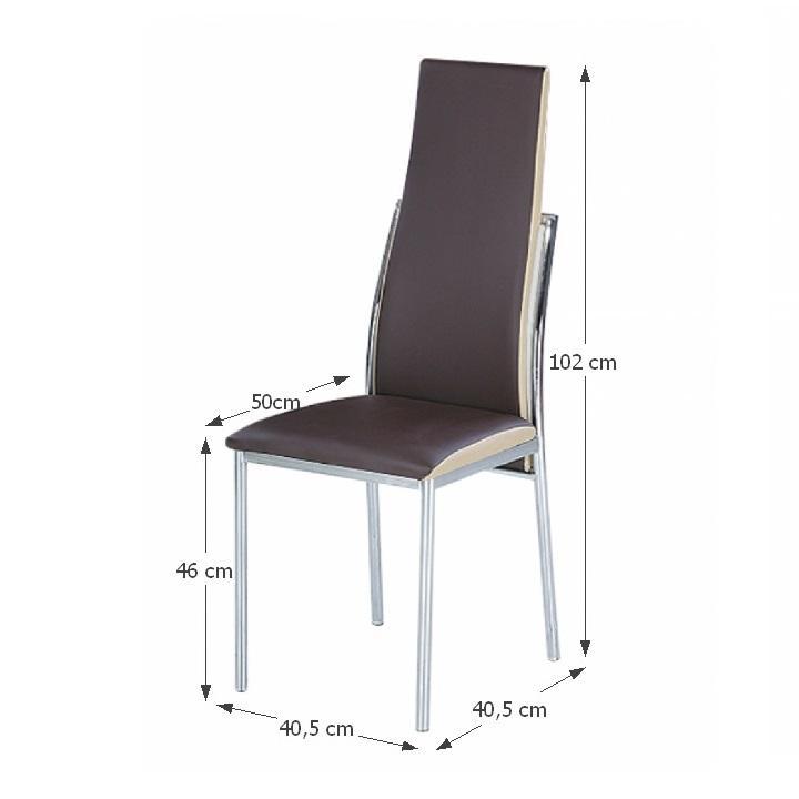 TEMPO KONDELA Jedálenská stolička, ekokoža tmavohnedá, béžová/chróm, ZORA - Tempo nábytek