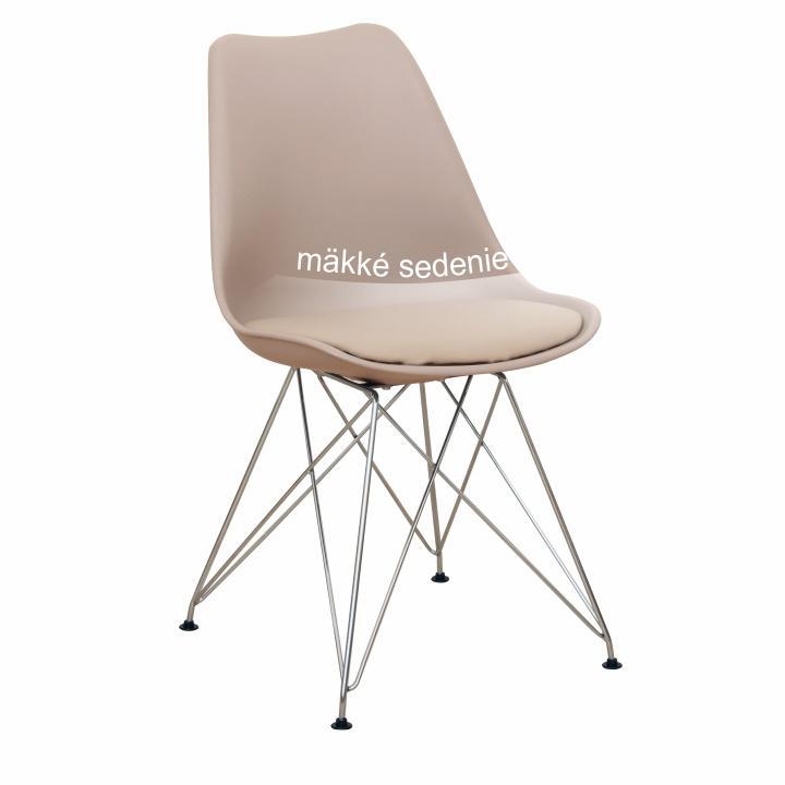 Modern szék, króm lábak + melegszürke, METAL