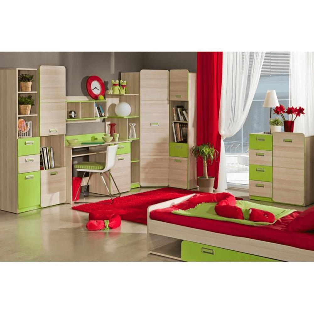 PC stůl rohový, jasan / zelený, EGO L11