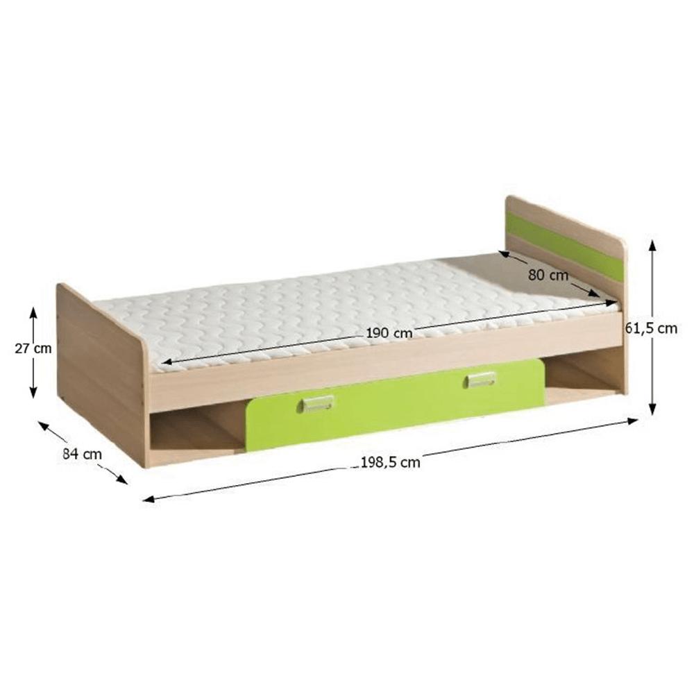 Posteľ komplet, jaseň/zelená, 80x190, EGO L13