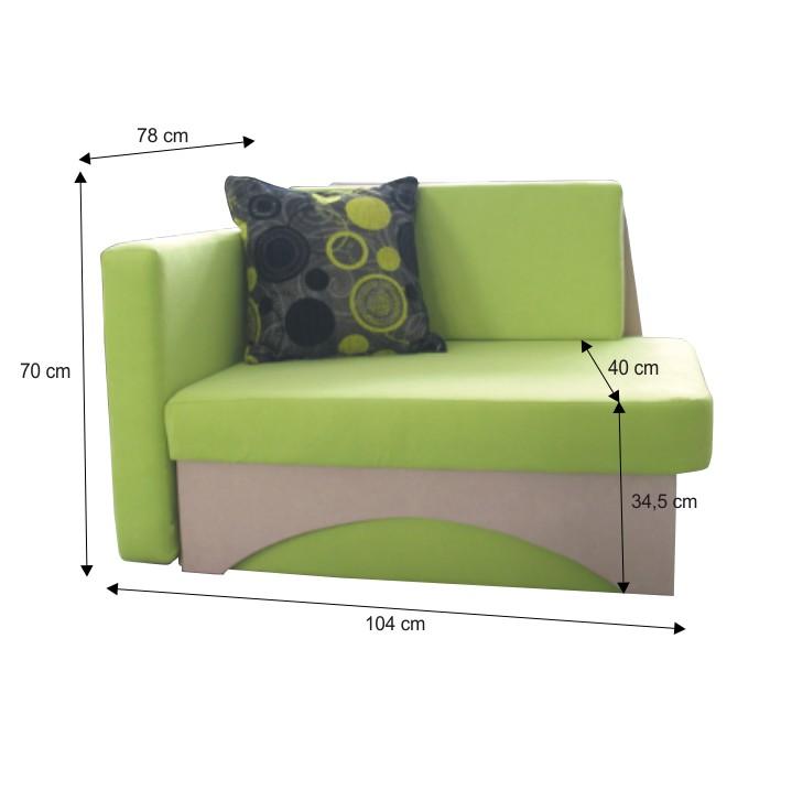 Kanapé ágyfunkcióval, zöld+bézs színű, bal oldali kivitel, KUBOS,