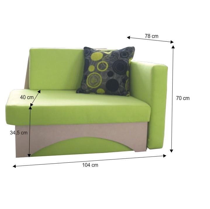 Kanapé ágyfunkcióval, zöld+bézs színű, jobb oldali kivitel, KUBOS